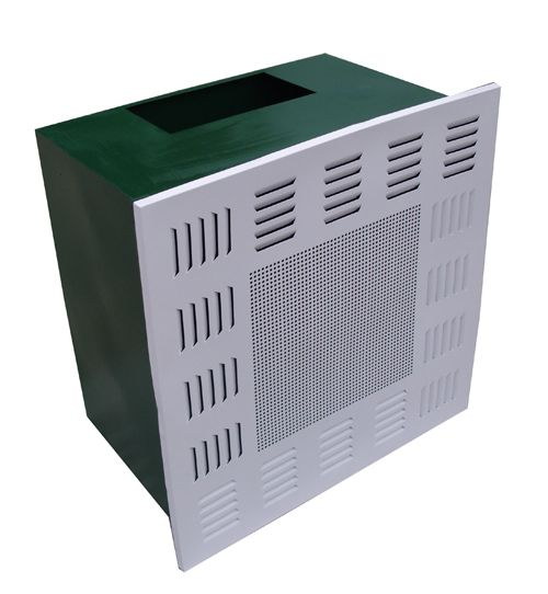 Cleanroom air plenum hepa filter box with diffuser plate