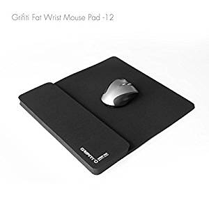 Grifiti Fat Mouse Wrist Pad 12 Jumbo Size Wrist Pad and Mouse Pad Is 13 X 11.75 Inch Combined 9 Inch Mouse Pad and 12 Inch Wrist Rest for Mice, Keypads, Numberpads, Trackpads, Trackballs, Adding Machines, Printing Calculators Including Filco, Hp, Kensington, Logitech, Microsoft, Apple, Perixx,