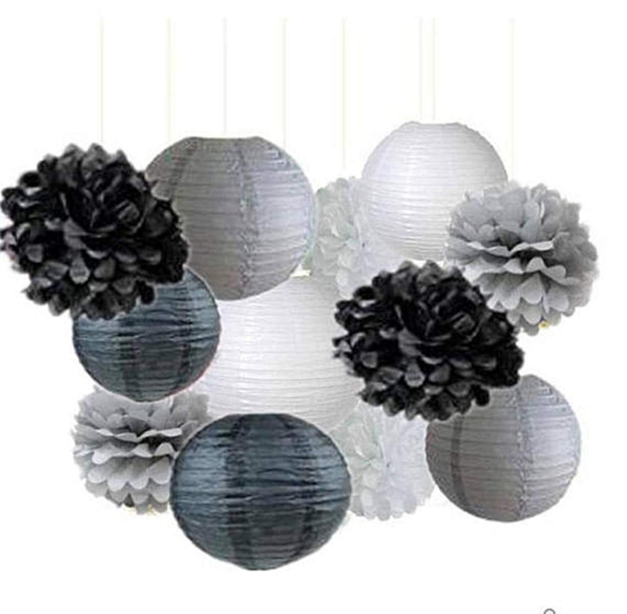 Black Gray White Party Poms & Lantern Set-DIY Boys Party Set, Paper Lantern | Graduation Party| Father Day, Grandpa Birthday