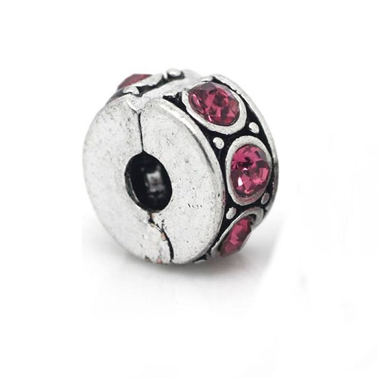 Clip Lock Stopper Bead with Pink Stones with 2 Clear Silicone Stopper For Snake Chain Charm Bracelet