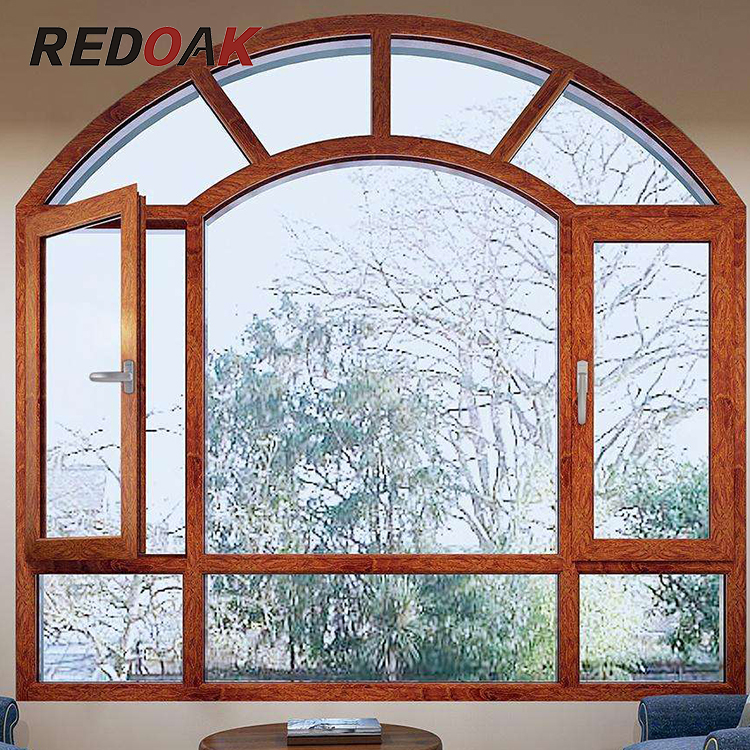Teak wood color both sides casement aluminum window, luxury hotel aluminum alloy window