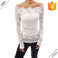 Fashion Blusas 2017 Autumn Sexy Women Blouses Off Shoulder Lace Crochet Shirts Long Sleeve Slim Casual Tops Blouse Plus Size