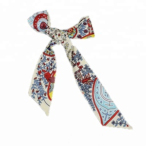 Newest hair band peacock printed scarf polyester skinny scarf
