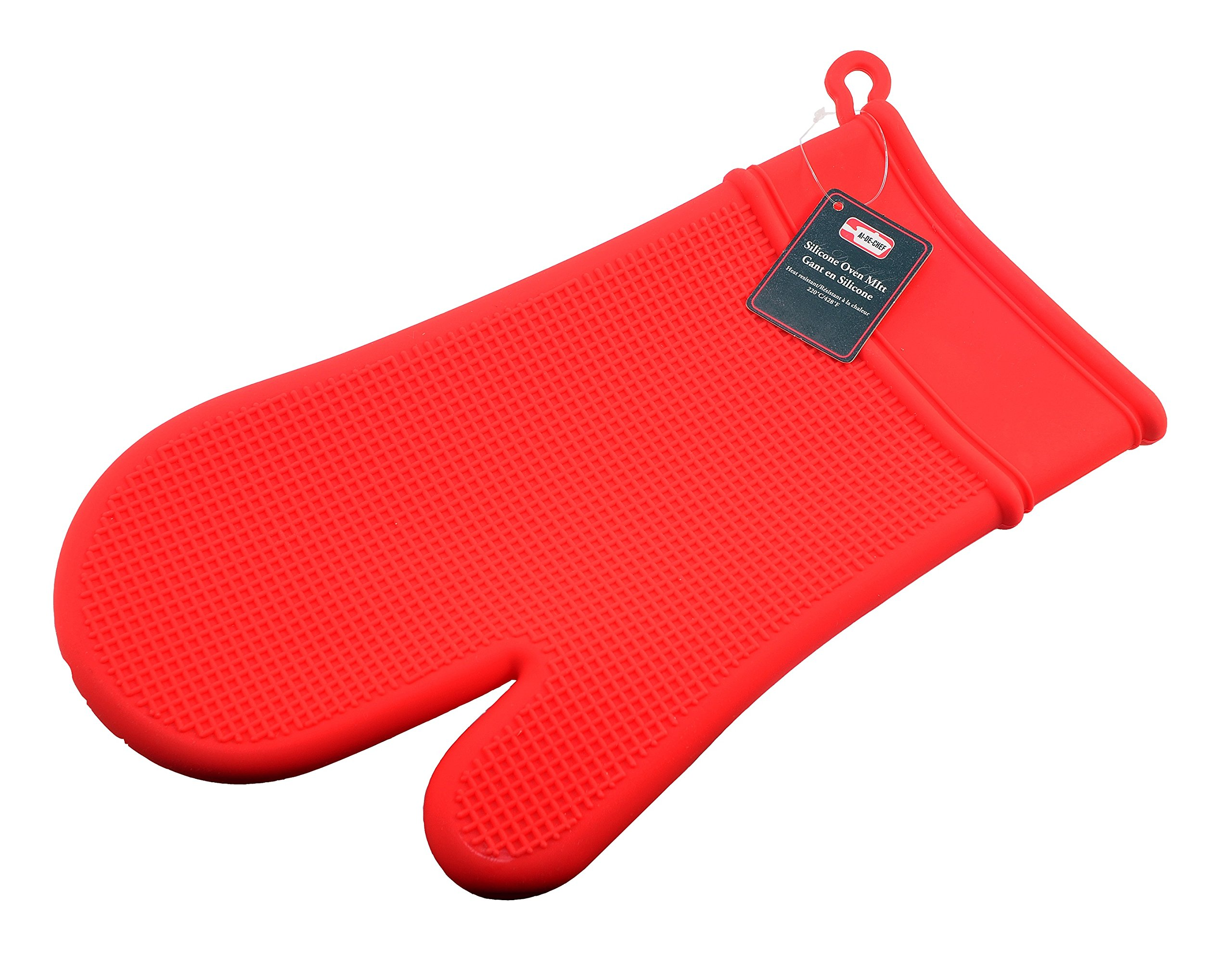 Red Silicone Oven Mitt - Heat Resistant up to 428ºF - Non-Slip Kitchen Oven Gloves for Cooking, Baking, Grilling - Dishwasher Safe. By Ai-De-Chef (1-Pack, Red)
