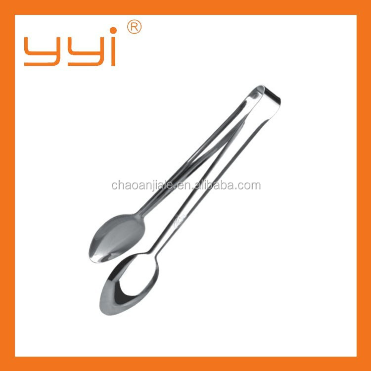 spoon head shape stainless steel food tong/stainless steel cake tong