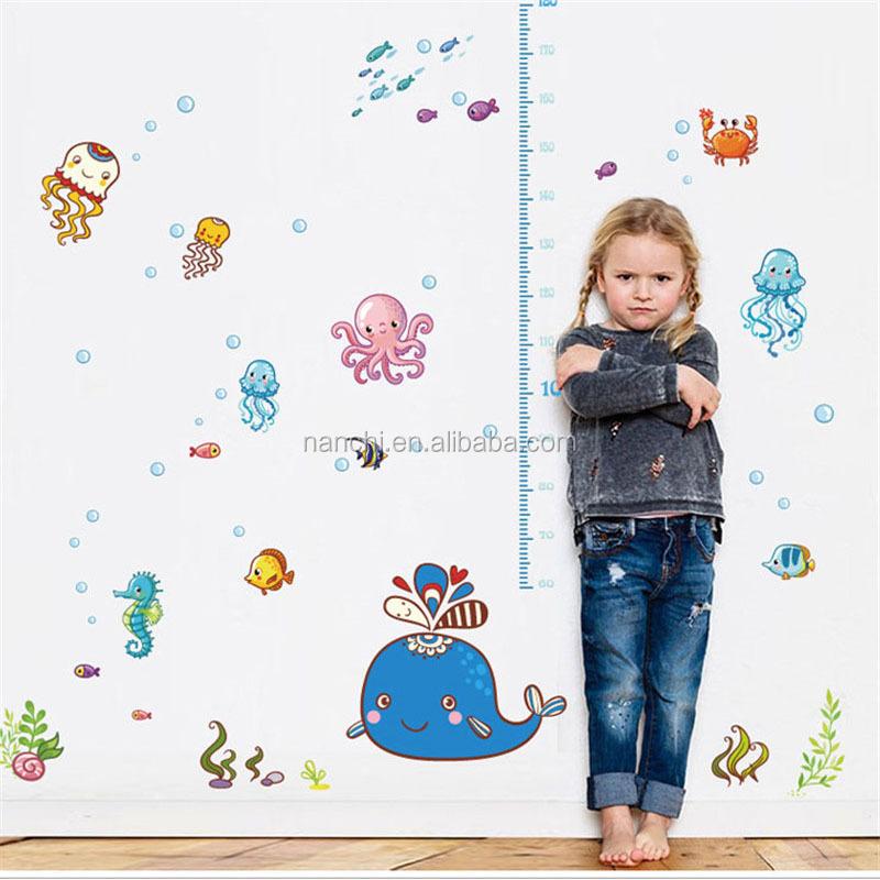 Underwater World Kids Height Growth Chart Wall Sticker For Kids Room