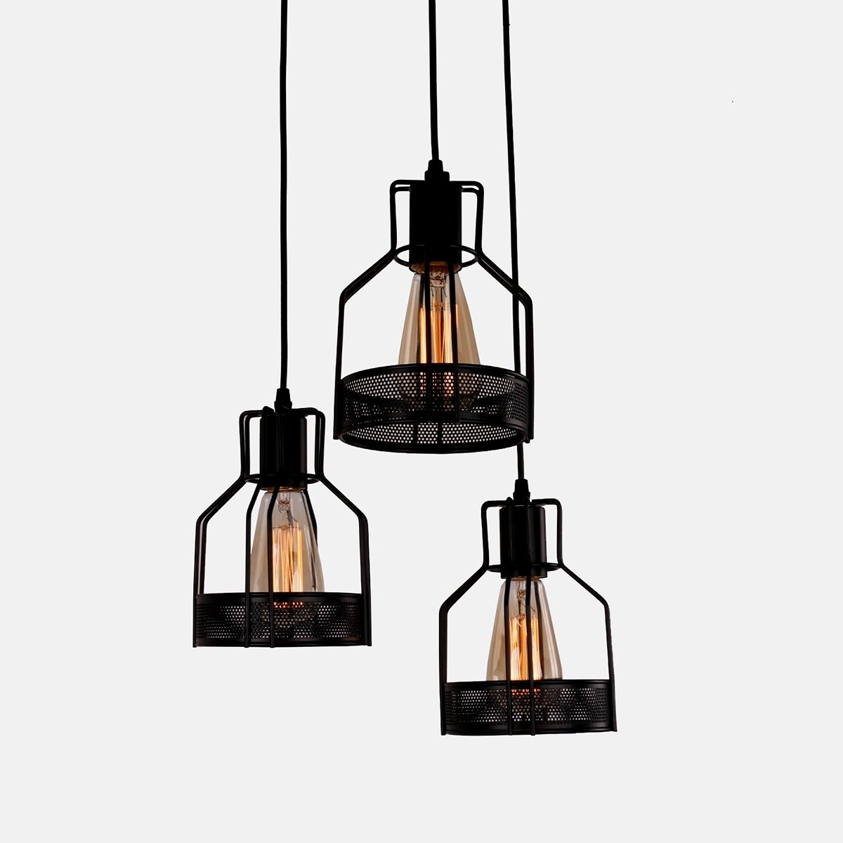 "Industrial Pendant Island Light, MKLOT Ecopower Retro Vintage Style 5.51"" Wide Edison Antique Black Wire Cage Pendant Lighting Ceiling Lamp Chandelier 3-lights"