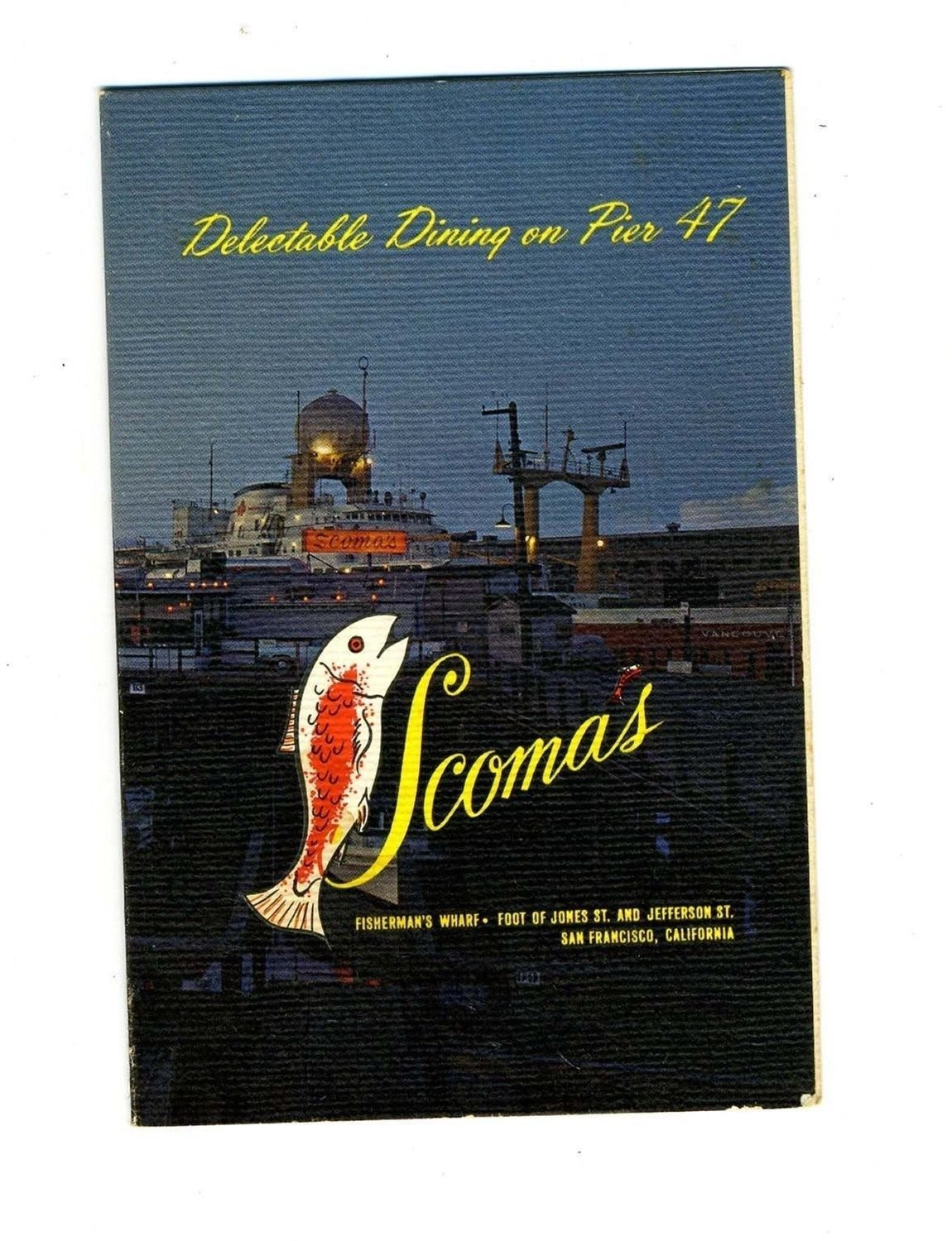 Scoma's Souvenir Menu Fisherman's Wharf San Francisco California 1970's