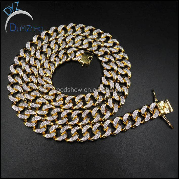 14mm*24inch 14K GOLD FINISH ICED OUT DIAMOND CUBAN LINK CHAIN NECKLACE