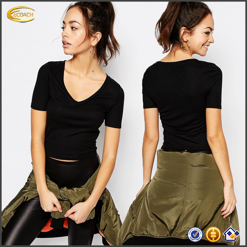 Ecoach 2016 Wholesale Cheap Price OEM Plain Color Short Sleeves V Neck Summer Tees For Ladies