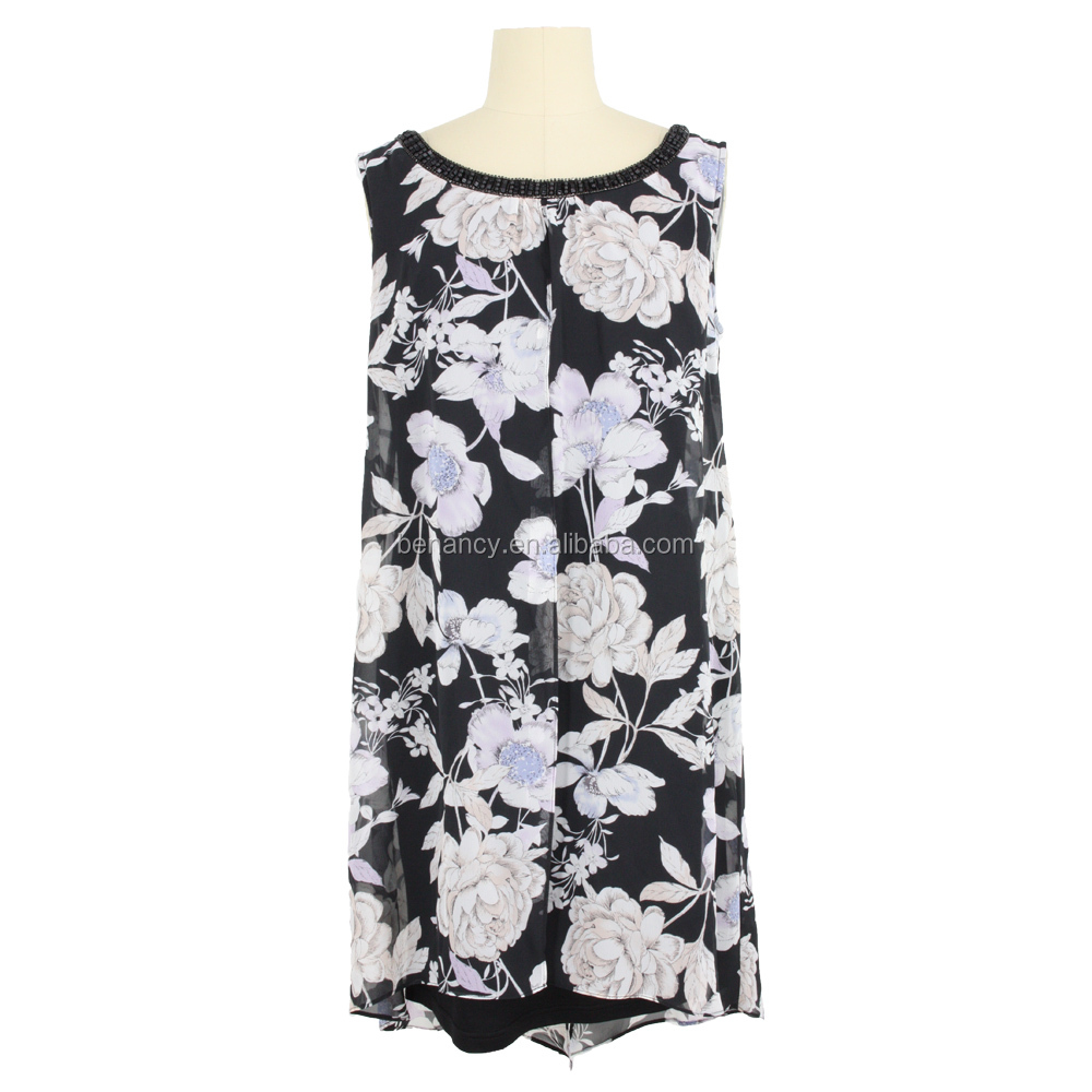 Floral Print Neck Trim Old Lady Tunic Guangzhou Manufacturer