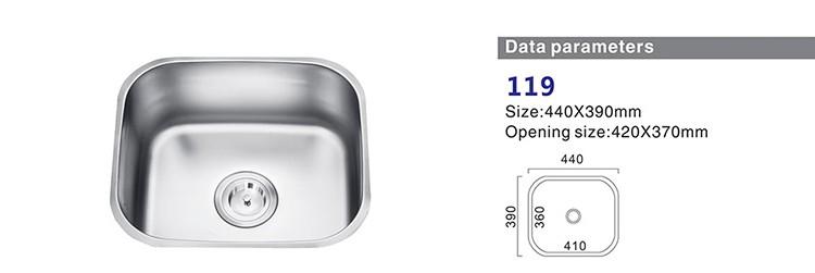 Mangkuk Tunggal Baik Jual Modern Stainless Steel Kitchen Sink Dengan Drainer