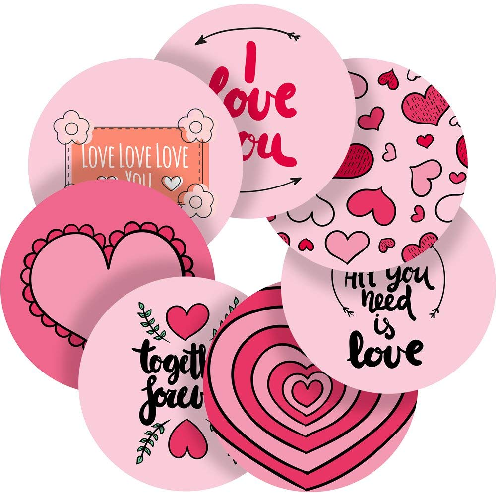 """Bubbly Pink Valentines Love Reward Sticker Labels, 35 Stickers @ 1.4"""" inch, Glossy Photo Quality, Ideal for Children Parents Teachers Schools Doctors Nurses Opticians"""