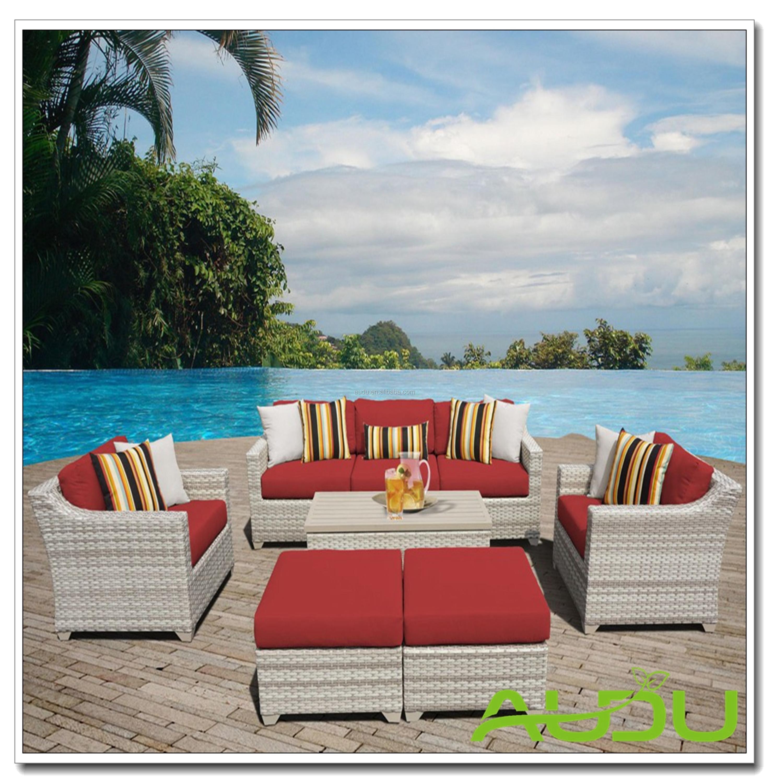 2018 New Houston Rattan Sofa 5pc White Wicker Outdoor Garden Patio Balcony  Furniture