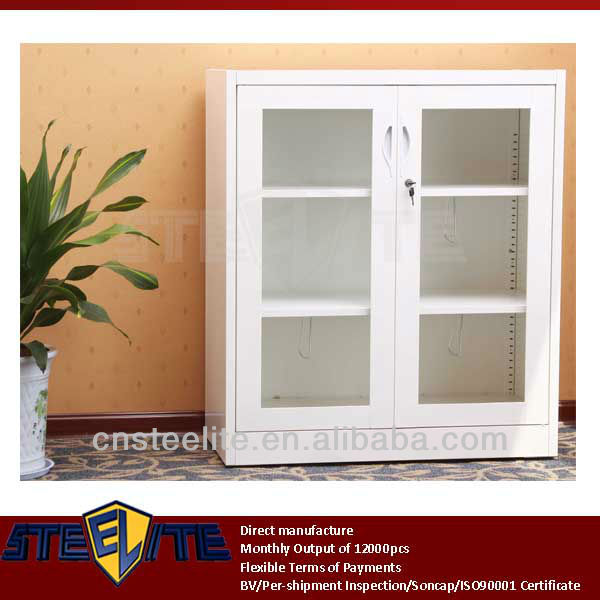 European Style Half Height Storage White Cabinet With Glass Doors ...