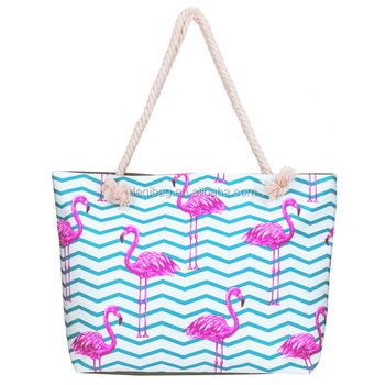 Nice Digital Printing Fashion Tote Bag Flamingo Canvas Beach