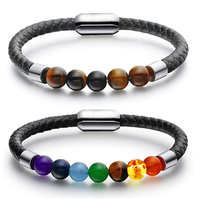 Inspire jewelry black leather bracelet mens womens obsidian tiger eye lava stone chakra bead with magnetic clasp bracelet