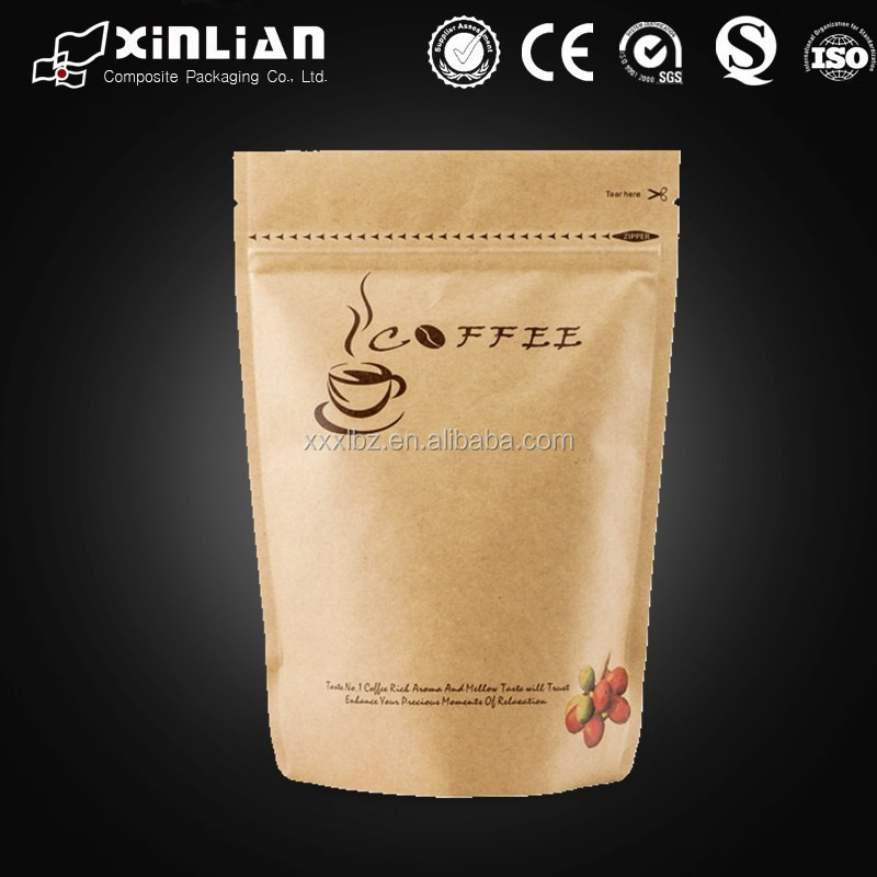 coffee packaging kraft stand up ziplock pouch/kraft paper bag with zipper closure/kraft paper bag for coffee
