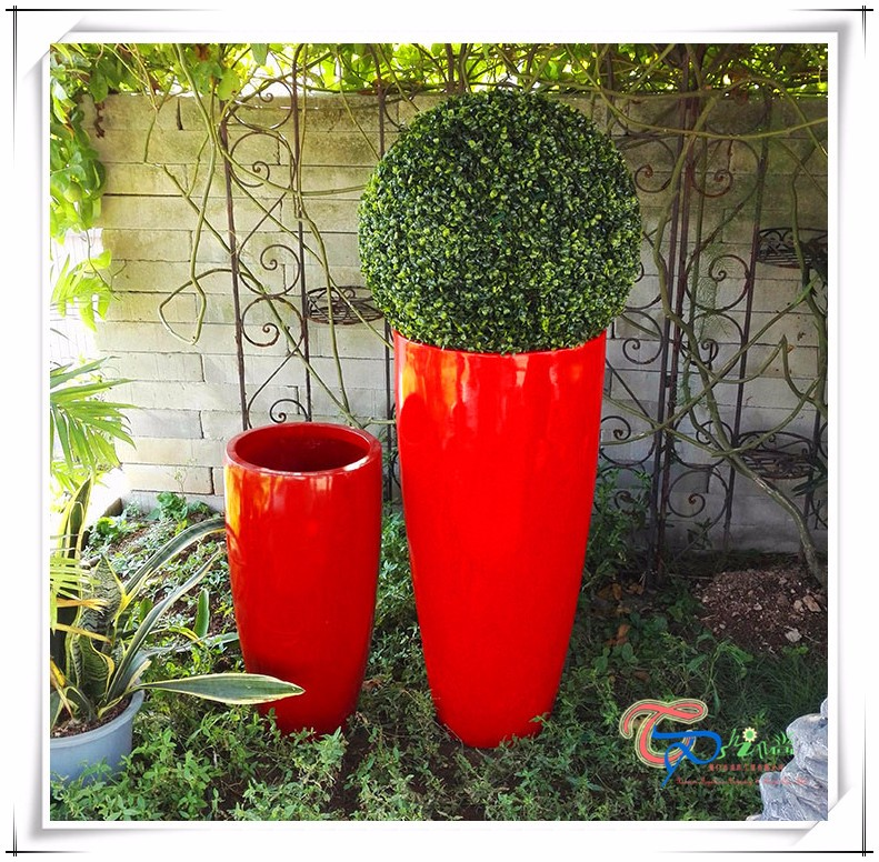 Hotel Fiberglass Indoor Round DecorationTall Flower Pot Planter