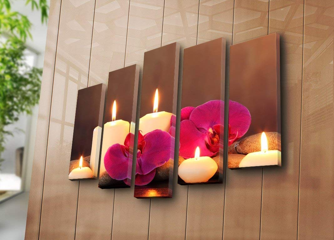 """LaModaHome Romantic Canvas Wall Art - Burning Candles and Purple Flowers, Fresh, Peaceful, Spiritual - Total Size (41"""" x 27"""") - Set of 5 - Wall Hanging for Home, Office, Living Room, Bedroom, Dorm"""