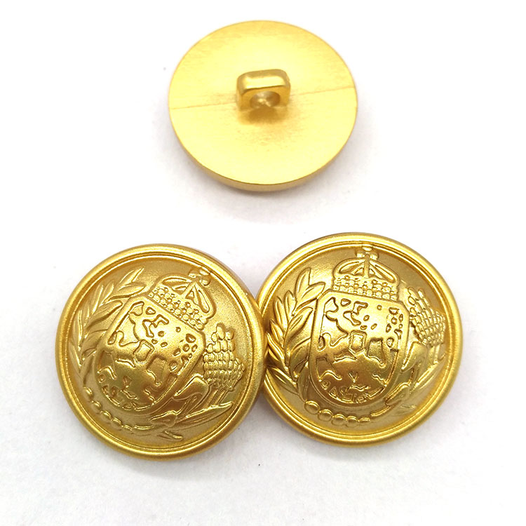 Matte gold plastic ABS shank button with embossed logo