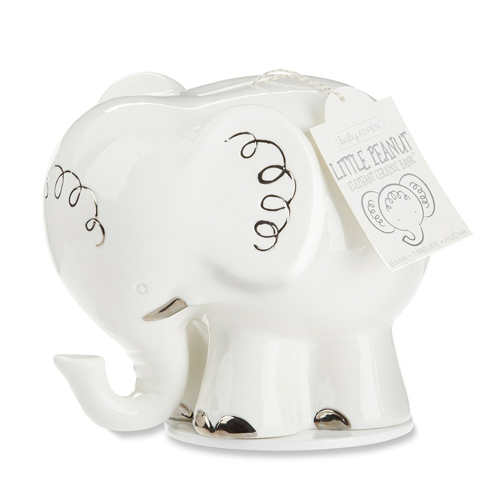 Baby Aspen Little Peanut Elephant Ceramic Bank, White/Silver