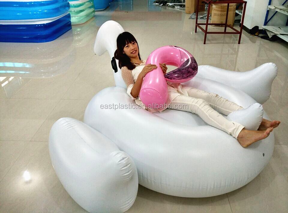 190cm Giant Inflatable Swan Swimming Pool Floating Island