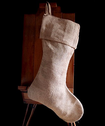 "AK-Trading Jute Natural Burlap Holidays Christmas Stockings - Pack of 3 - Natural Burlap, 10"" x 24""H x 14"" foot"