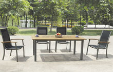 Chine moderne metal mesh patio meubles en teck bois table de chaise de fronde