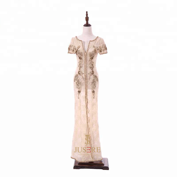 Sexy see through scoop neckline beaded appliques lace dubai kaftan dress open leg evening dress