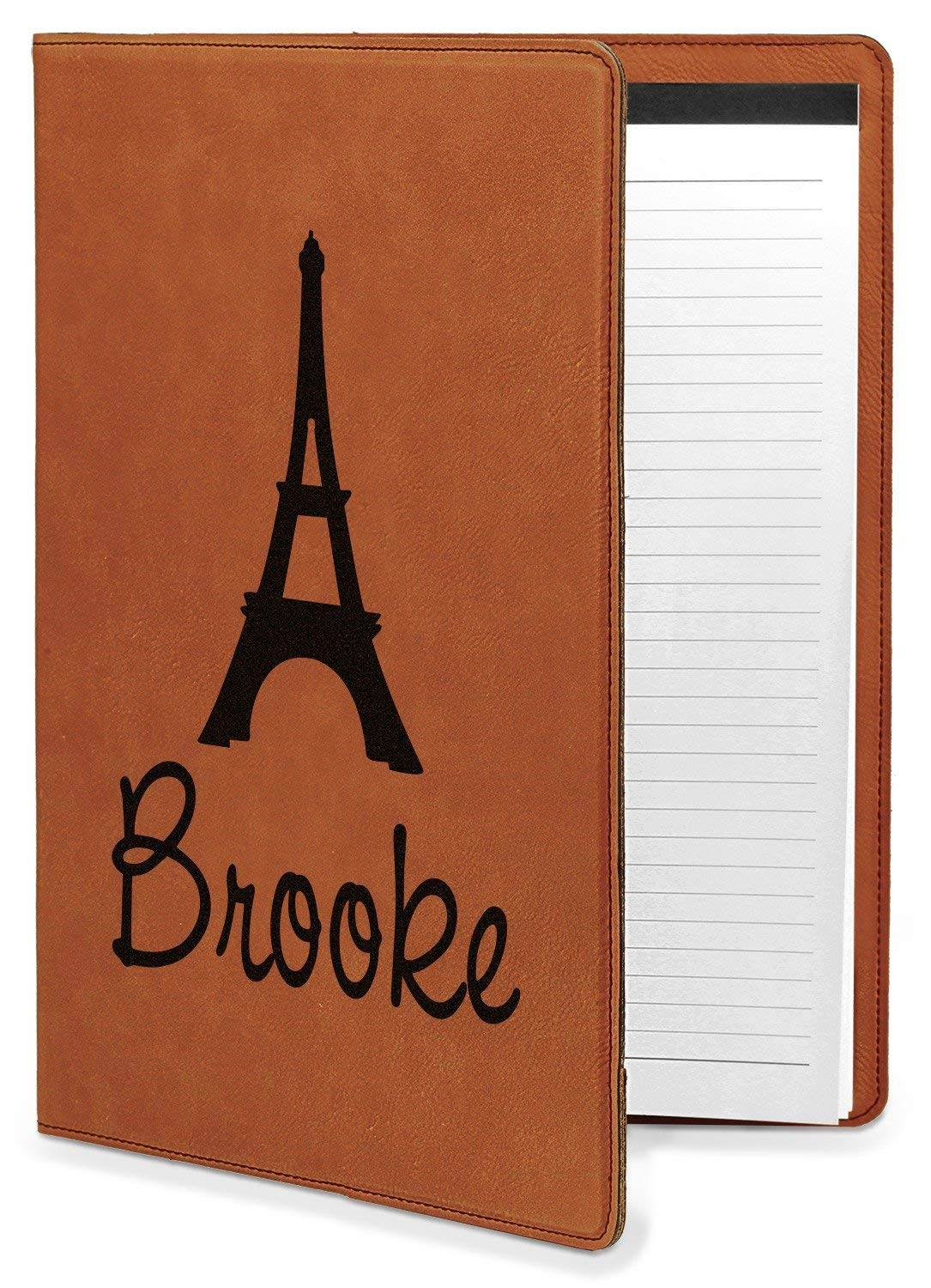 Eiffel Tower Leatherette Portfolio with Notepad - Large - Single Sided (Personalized)