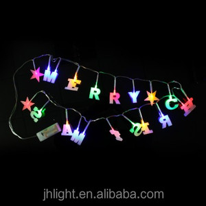 2016 Novelty Merry Christmas String Lights/Led Christmas Alphabet Letter String Lights with star battery operated