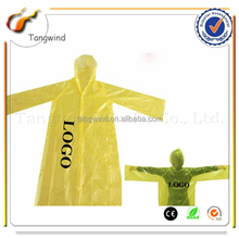 TWL001 Eco-friendly Promotional Disposable PE Poncho Raincoat