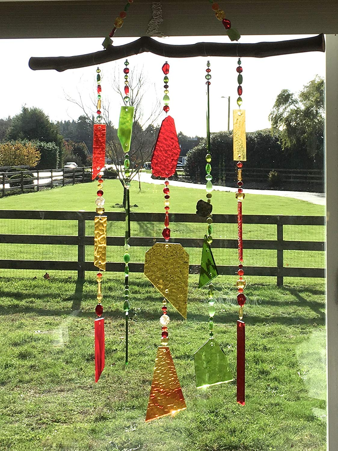 Stained Glass Sun Catcher, Red Glass Mobile, Green Wind Chime, Gold Beaded Chimes, Glass Wind Chimes, Glass Windchimes, Suncatchers, 8585