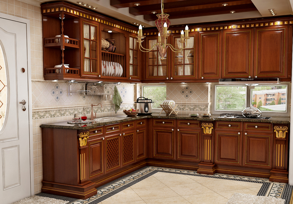 Good quality kitchen cabinet with acrylic door panel for Armoire de cuisine en merisier