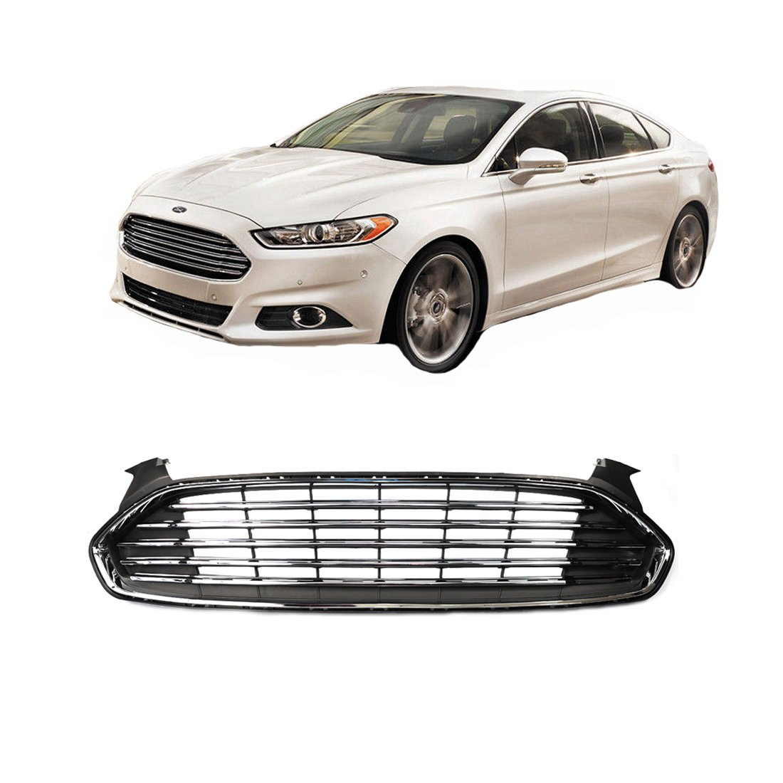 Get Quotations · Vakabva DS7Z8200BA Ford Fusion Grill Gloss Black Ford  Fusion Front Grille for Ford Fusion 2013-