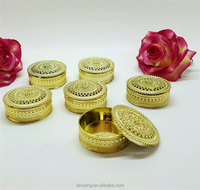 Gold Round Plastic Trinket Box Fillable Wedding Favor Table Decorations