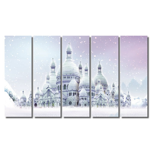 5 Pieces Canvas Painting Cityscape for Multi-Panel Canvas Prints Wall Decoration