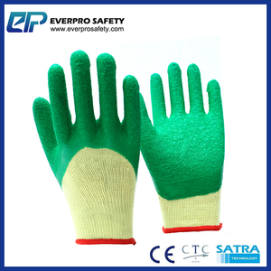 3/4 Yellow Polycotton Green Latex Safety Dipped Gloves With Crinkle Finish