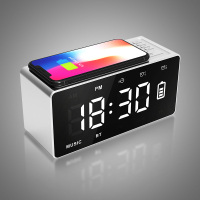 Qi Wireless Charging BT Speaker Alarm Clock with FM Radio AUX TF Music Player