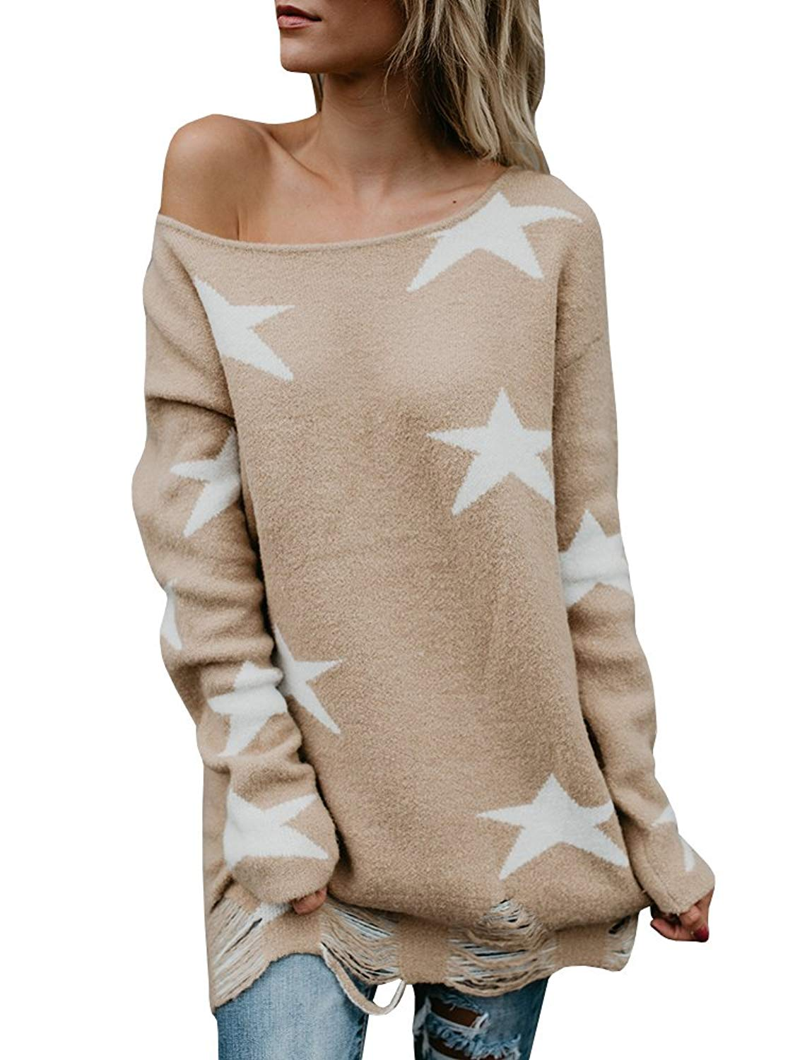Get Quotations · Shele Womens Star Printed Ripped Hem Cold Shoulder Long  Sleeve Baggy Sweater Pullovers 73f65ef7b