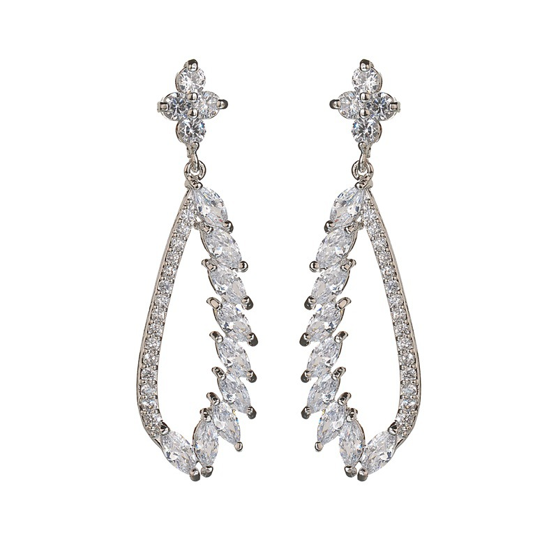 Top design fashion white gold plated cz earring angel wing seed bead drop diamond earrings