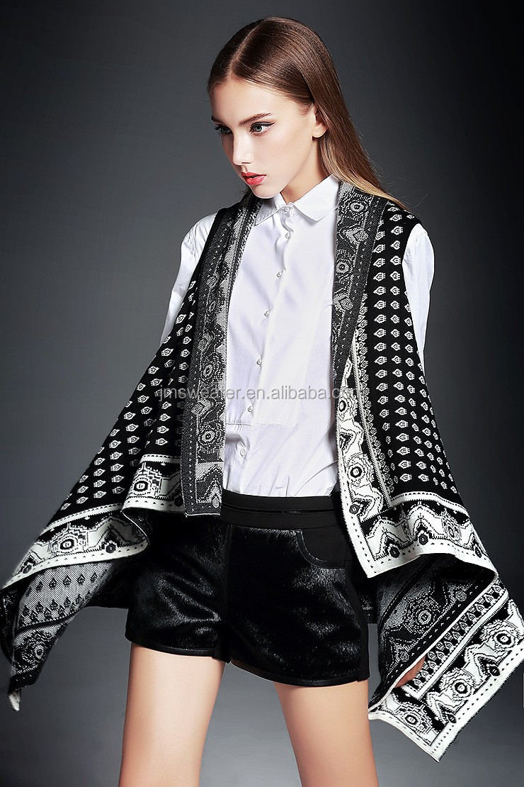China factory women shawl collar cardigan spanish style sleeveless poncho
