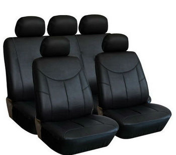 Pu Leather 11 Pcs Car Seat Covers Black For 2 Row Airbags
