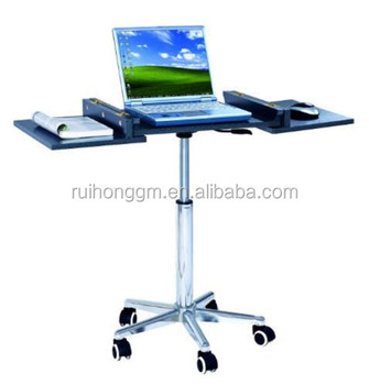 Adjule Rolling Portable Mobile Computer Notebook Desk Stand Laptop Table