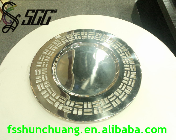 Gold plated/Silver plared Round Stainless Steel Fretwork Dinner Plate for Banquet/Buffet