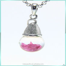 Special offer color 10mm glass bulb 3D Floating Synthetic Ruby Necklace