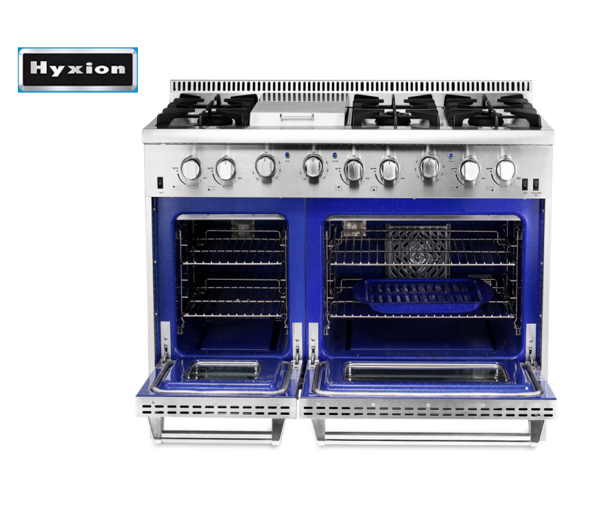 "Hyxion 48"" Free Standing 6 Burner Gas Ranges Cooker Double Oven"