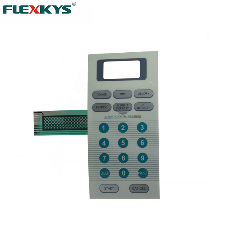 Flat Microwave Oven Membrane Keypad Panel with Carbon Ink Shield
