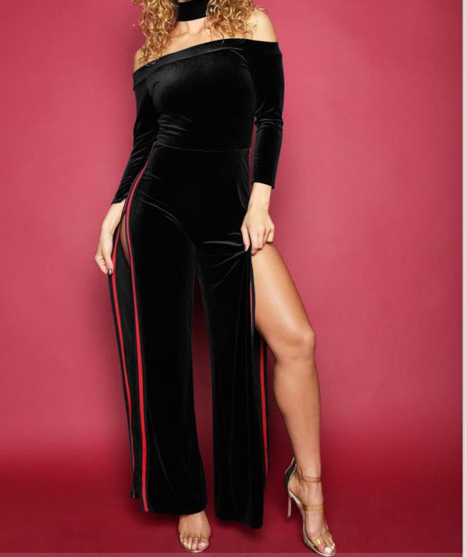Sin tirantes desgaste del partido mujeres sexy elegante negro split ...